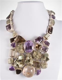 Charles Albert - Pyrite, Amethyst, Lodalite, Amertrine, And Smokey Quartz Necklace