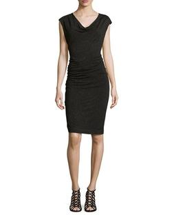 Nicole Miller   - Cap-Sleeve Baroque & Corset-Print Dress