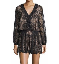 Alexis - Marena Long-Sleeve Lace Romper, Black
