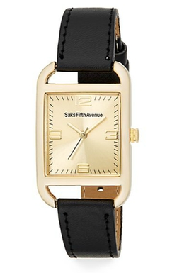 Saks Fifth Avenue  - Square & Faux Leather Watch