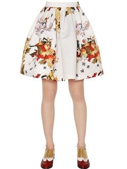 Blugirl  - Floral & Fruit Printed Duchesse Skirt