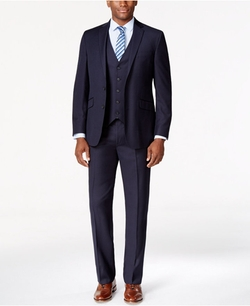 Kenneth Cole Reaction - Navy Vested Pinstripe Slim-Fit Suit