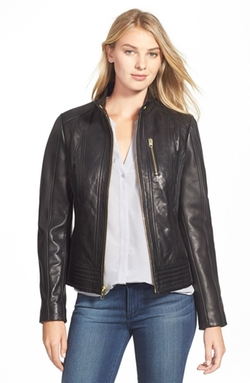 Michael Michael Kors - Leather Stand Collar Jacket