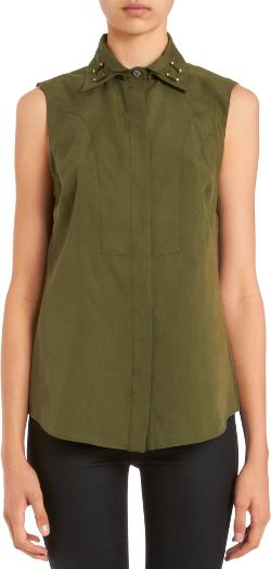 Derek Lsm - Sleeveless Double Collar Utility Blouse