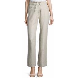 Neiman Marcus - Straight-Leg Linen Pants