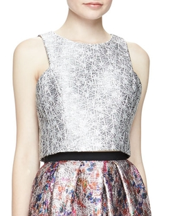 Phoebe   - Sleeveless Metallic Jacquard Crop Top
