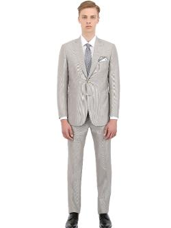 BRIONI  - Wool Blend Micro-Striped Slim Fit Suit