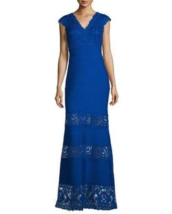 Tadashi Shoji - Cap-Sleeve Pintucked Lace-Panel Gown