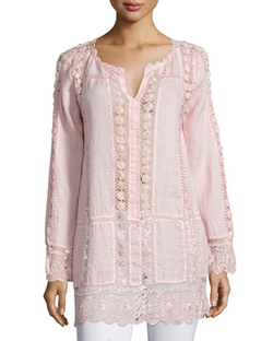 Calypso St. Barth - Zerene Long-Sleeve Lace-Inset Top