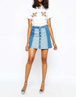 House of Holland - Whip Stitch Denim Mini Skirt