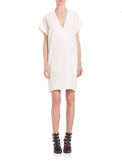 Vince  - Rolled Sleeve Popover Dress