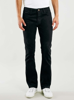 Topman - Solid Black Raw Flare Jeans