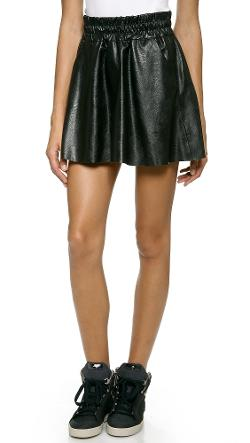 Pam & Gela - Faux Leather Skater Skirt