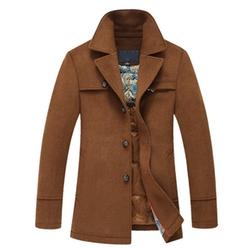 Moin - Long Velvet Cotton Single Breasted Trench Coat