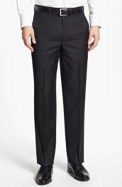 Santorelli  - Flat Front Wool Trousers