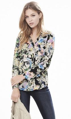 Express - Watercolor Floral Portofino Shirt