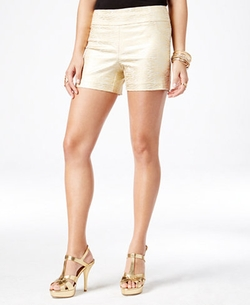Thalia Sodi - Metallic-Print Pull-On Shorts