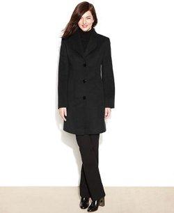 Jones New York  - Checked Textured Walker Coat