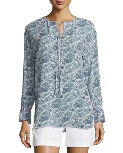 Theory  - Alrik Avery Printed Silk Blouse