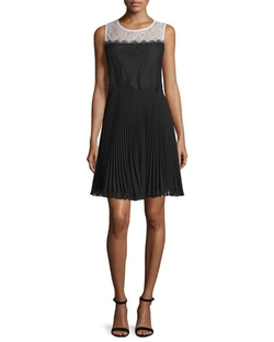 Erin by Erin Fetherston  - Sleeveless Lace Pleated-Skirt Cocktail Dress