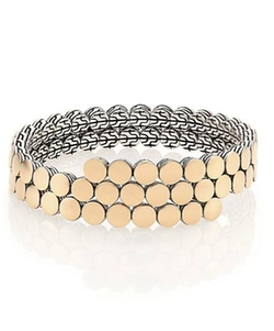 John Hardy - Dot 18K Yellow Gold & Sterling Silver Two-Row Coil Bracelet