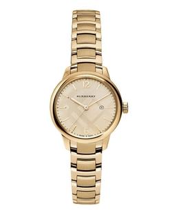 Burberry - Round Golden Stainless Steel Watch