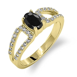 Gem Stone King - Oval Natural Black Sapphire Ring