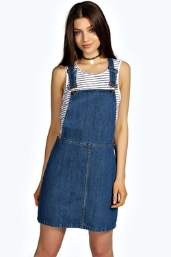 Boohoo - India Denim Dungaree Pinafore Dress