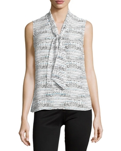 Laundry by Shelli Segal  - Sleeveless Printed Tie-Neck Blouse
