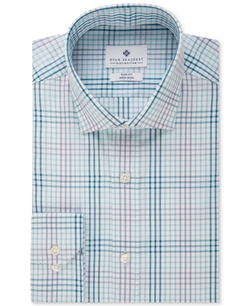 Ryan Seacrest Distinction  - Slim-Fit Non-Iron Blue Ocean Multi Check Dress Shirt
