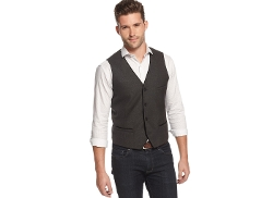 Alfani Red - Velvet-Piped V-Neck Vest