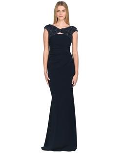 Badgley Mischka - Beaded Cap-Sleeve Evening Gown