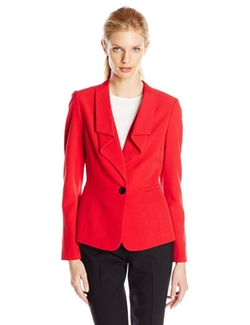 Anne Klein - One Button Ruffle Suit Jacket