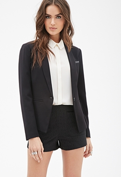 Forever 21 - Faux Leather-Paneled Blazer