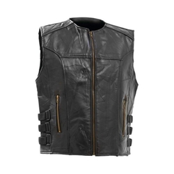 Maxam  - Diamond Plate Italian Stone Design Leather Vest