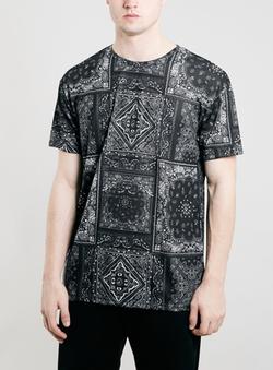 Topman - Black Bandana Skater Fit T-Shirt