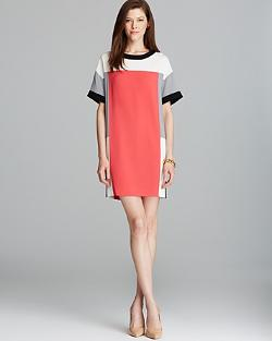 DKNY  - Color Block Short Sleeve Dress