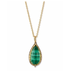 Konstantino  - Faceted Malachite Teardrop Pendant Necklace