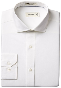 Haggar - Cotton Poplin Solid Fitted Spread Collar Dress Shirt
