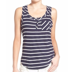Socialite - Stripe Ribbed Henley Tank Top