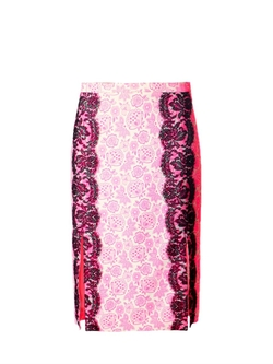 Christopher Kane - Lace-Trimmed Floral-Print Skirt