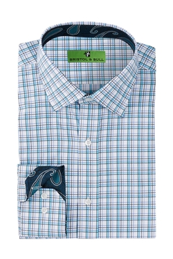 Bristol & Bull - Paisley Trim Graph Plaid Regular Fit Dress Shirt
