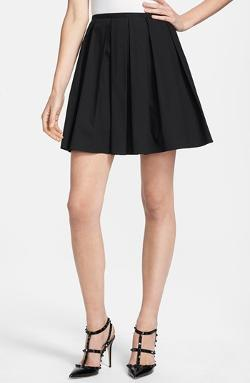 RED Valentino  - Pleated Stretch Poplin A-Line Skirt