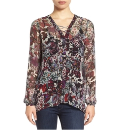 Lucky Brand - Sheer Floral Print Lace-Up Peasant Blouse