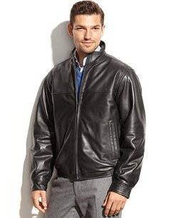 Perry Ellis  - Smooth Leather Bomber Jacket