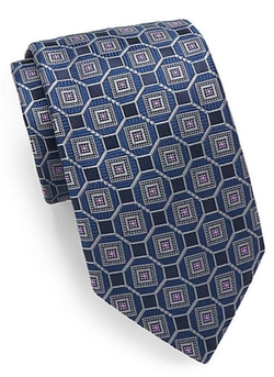 Ike Behar  - Square-Print Silk Tie