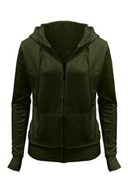 G2 Chic - Solid Basic Classic Zip Front Hoodie Sweatshirt