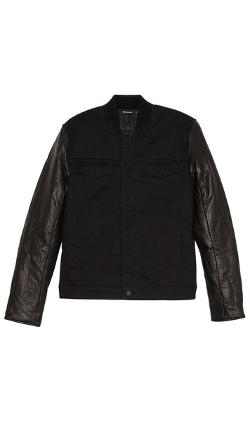 T by Alexander Wang  - Jean Jacket with Leather Sleeves