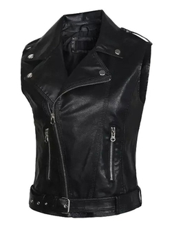 Choies - Sleeveless Leather Biker Jacket