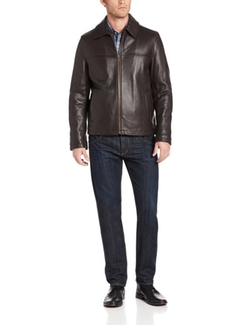 Tommy Hilfiger - Rugged Open-Bottom Leather Jacket